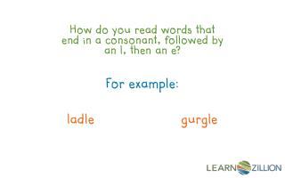 How do you read words that end in a consonant, followed by an l, then an e?