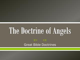 The Doctrine of Angels