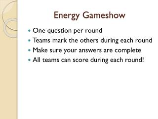 Energy  Gameshow
