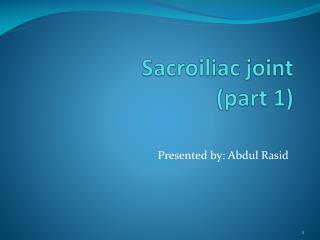 Sacroiliac joint (part 1)