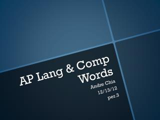 AP Lang & Comp  Words