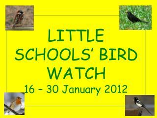 LITTLE  SCHOOLS' BIRD WATCH 16 – 30 January 2012