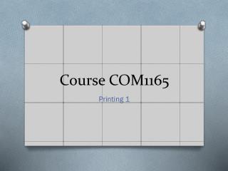 Course COM1165