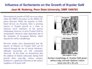 Surface morphology of  N-polar GaN grown without (top) and with (bottom) indium