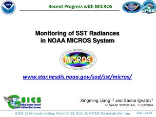 Monitoring of SST Radiances in  NOAA  MICROS System www.star.nesdis.noaa.gov/sod/sst/micros/