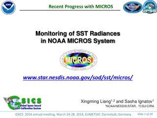 Monitoring of SST Radiances in  NOAA  MICROS System www.star.nesdis.noaa.gov/sod/sst/micros/