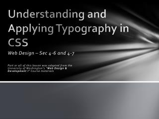 Understanding and Applying  Typography in CSS