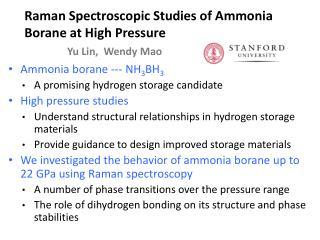 Ammonia  borane  --- NH 3 BH 3 A  promising hydrogen storage candidate High  pressure studies