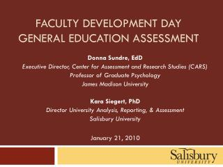 Faculty development day General education assessment