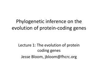 Phylogenetic inference on the evolution of protein-coding genes