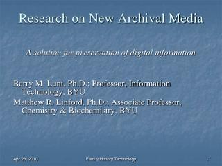 Research on New Archival Media