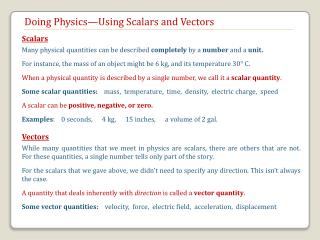 Doing Physics—Using Scalars and Vectors