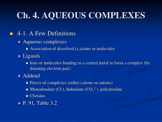 Ch. 4. AQUEOUS COMPLEXES