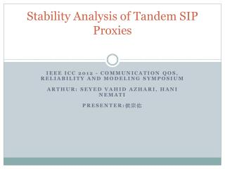 Stability Analysis of Tandem SIP Proxies
