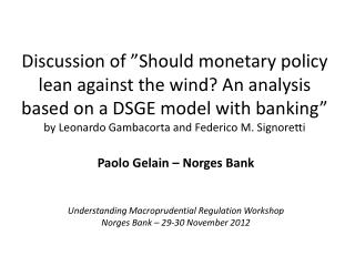 Paolo Gelain – Norges Bank