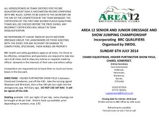 AREA 12 SENIOR AND JUNIOR DRESSAGE AND SHOW JUMPING CHAMPIONSHIP Incorporating  BRC QUALIFIERS