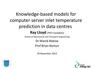 Knowledge-based models for computer server inlet temperature prediction in data centres