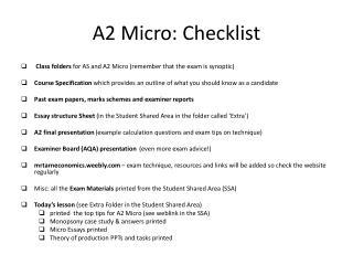 A2 Micro: Checklist
