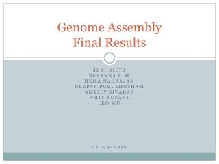 Genome Assembly  Final Results