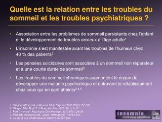 Quelle est  la relation entre les troubles du  sommeil  et les troubles  psychiatriques  ?