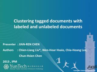 Clustering tagged documents with  labeled and unlabeled documents