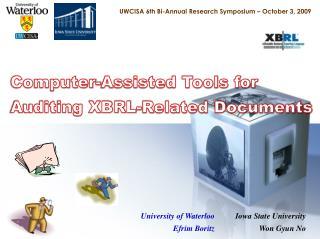 UWCISA  6th Bi-Annual Research  Symposium – October 3,  2009