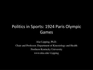 Politics in Sports: 1924 Paris Olympic Games