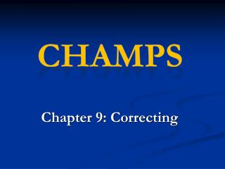 Chapter 9: Correcting