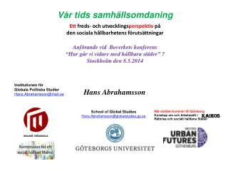 """Anförande  vid   Boverkets konferens """" Hur går  vi  vidare  med  hållbara städer """" ?"""