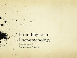 From Physics to Phenomenology