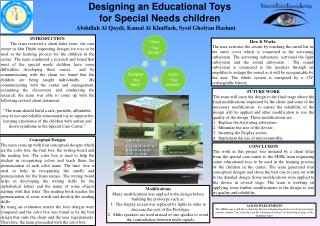 Designing an Educational Toys  for Special  Needs children