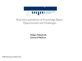 Real-time population of Knowledge Bases: Opportunities and Challenges