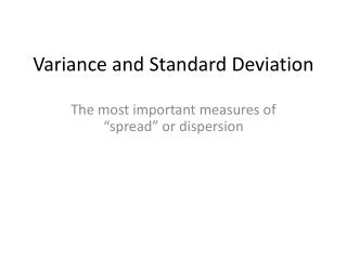 Variance and Standard Deviation