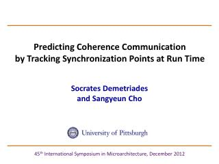 Predicting Coherence Communication  by Tracking Synchronization Points at Run Time