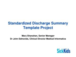 Standardized Discharge Summary Template Project