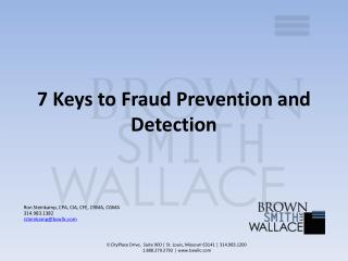 7 Keys to Fraud Prevention and Detection