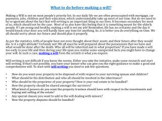 What to do before making a will