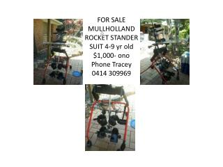 FOR SALE MULLHOLLAND ROCKET STANDER SUIT 4-9  yr  old $1,000-  ono Phone Tracey 0414 309969