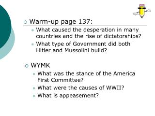 Warm-up page  137: What caused the desperation in many countries and the rise of dictatorships?