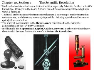 Chapter 10, Section 1 The Scientific Revolution