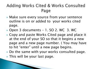 Adding Works Cited & Works Consulted Page