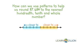 How can we use patterns to help us round 87.684 to the nearest hundredth, tenth and whole number?