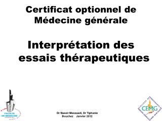 Certificat optionnel de M�decine g�n�rale