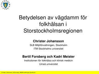 Betydelsen av vägdamm för folkhälsan i Storstockholmsregionen