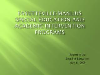 Fayetteville-Manlius  Special Education and Academic Intervention Programs