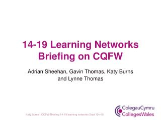 14-19 Learning Networks Briefing on CQFW