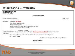 STUDY CASE # 1 - CYTOLOGY
