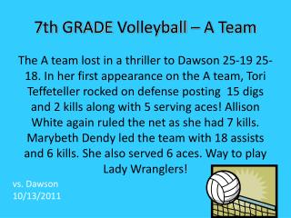 7th  GRADE  Volleyball – A Team