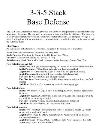 3-3-5 Stack Base Defense