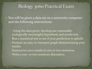 Biology 3060 Practical Exam